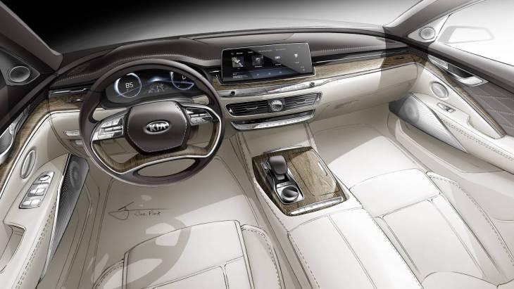 Эскиз интерьера седана KIA K900 нового поколения